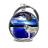 Eagle de lobo luna llena de lobo luna llavero–Llavero–Llavero joyas–Lobo...
