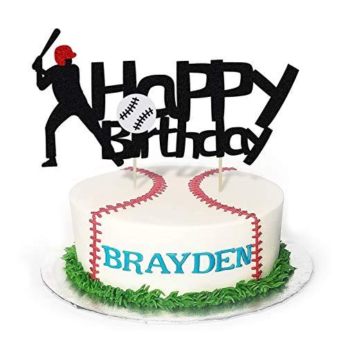 KAPOKKU Black Both Sides Baseball Happy Birthday Cake Topper, Birthday Party Cake Decoration, Sports Theme Cake Topper (baseball cake topper)