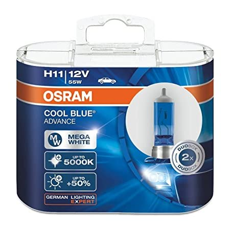 Osram H11 12 V 55 W 5 000 K 62211cba Cool Blue Advance Pkw Leuchtmittel Halogen Scheinwerfer 2 Stück Auto