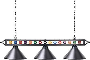 "Wellmet Billiard Light for Pool Table,59"" Pool Table Lighting for 7' 8' 9' Table, Hanging Over Pool Table Light with Matte Metal Shades and Billiard Ball Decor,Perfect for Game Room,Kitchen Island"