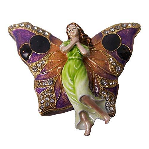 WMYATING El joyero Tiene una Forma novedosa y única, un DIS Caja de joyería Mariposa de Hadas Bejeweled Tinket Box Butterfly Decoración Caja de Esmalte Joyería Organizador Caja de Anillo