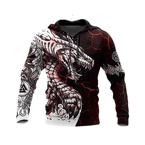 Noir Blanc Dragon Tattoo 3D Imprimé Hoodies Sweat Unisexe Streetwear Zipper Pull Veste Décontractée Survêtements
