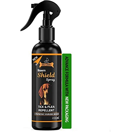 Dogz & Dudez Neem Shield Tick & Flea Spray for All Breeds | Treatment and Repellent Spray for Dogs, Puppies, Cats, Home Spray - with Neem, Lemongrass, Aloe Vera - 200 Ml