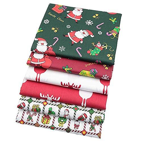 Vikenner 6pcs Navidad Tela Patchwork Telas cuadradas Algodón liso Tela de Coser Retazos Tela de algodón hecha a...