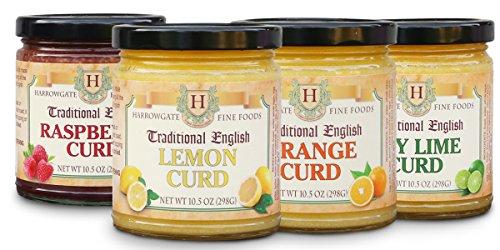 Harrowgate Traditional English Curds - 4 pack variety - Lemon, Orange, Raspberry, Key Lime