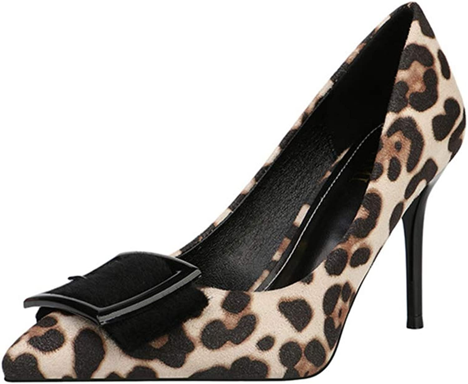 Drew Toby Women Pumps Sexy Leopard Print Shallow Pointed Toe Fashion Elegant High Heels
