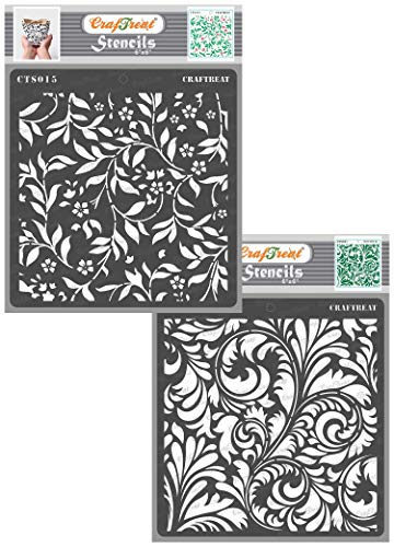 CrafTreat Stencils for Painting on Wood, Canvas, Paper, Fabric, Wall and Tile - Flourish Background and Flourish 2-2 Pcs - 6x6 Inches Each - Reusable DIY Art and Craft Stencils for Home Décor