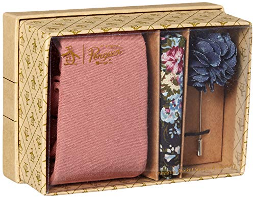 Original Penguin Men's Messner 3-Piece Solid Tie, Pocket Square & Lapel Pin Box, Pink, One Size