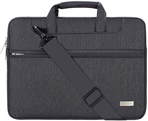 MOSISO Laptop Umhängetasche Kompatibel mit 13-13,3 Zoll MacBook Pro, MacBook Air, Notebook Computer, Polyester Aktentasche Messenger Schultertasche mit Zurück Wagen Gürtel, Space Grau