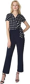 T I A N A B. Tiana B Women's Polka Dot Wrap Top & Solid Knit Bottom Jumpsuit