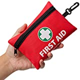Mini First Aid Kit, 110 Pieces Small First Aid Kit - Includes Emergency Foil Blanket, CPR Respirator, Scissors for Travel, Home, Office, Vehicle, Camping, Workplace & Outdoor (Red)