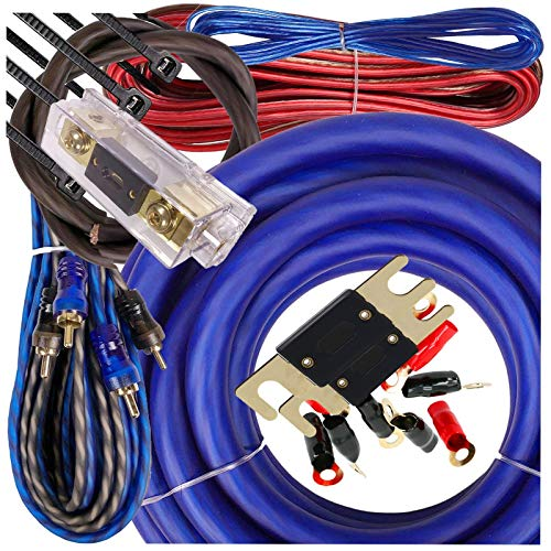Gravity 1/0 Gauge Power Amp Kit Up to 6500 Watts Premium Elite Pro Flexible RCA Speakers Wires , 250A + 300A Fuse Included , Complete Blue DIY Hobbyist AWG Amplifier Installation Wiring