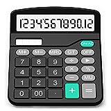 Calcolatrice, Splaks Standard Calcolatrice da Tavolo Funzionale Sola e AA Batteria con 12 Cifre(NERO)