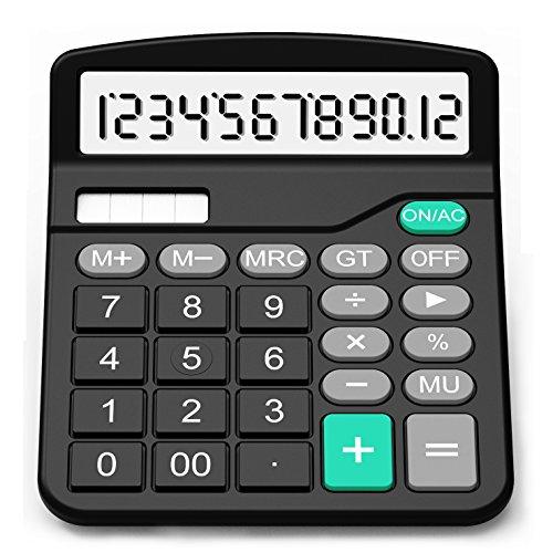 SPLAKS Taschenrechner 12-stellig Standard Function Tischrechner Bürorechner Rechenmaschine Solar- und AA Batterie Betrieb Calculator mit großem Display Schwarz (Schwarz)