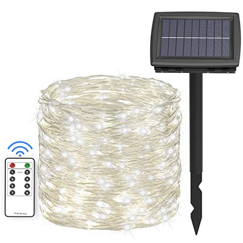 Asmader 66 ft Solar String Lights,200 LEDs Outdoor Fairy Lights Powered by Solar and Battery, 8 Modes RF Remote Waterproof Decor Lights with 3.7V/1500mA Solar Rope Lights for Patio Garden Party White