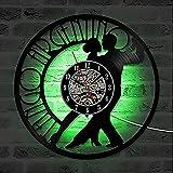zZZ Reloj de Pared Reloj De Pared Interior Negro Disco De Vinilo Patrón De Personaje De Tango