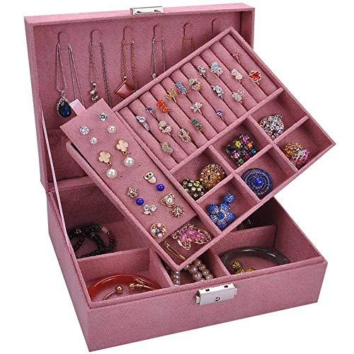 PRWZCD Women's Jewellery Box Ring Earring Bracelet Necklace Jewellery Storage Box Multi-layer Multifunctional Storage Box for Leather Jewellery