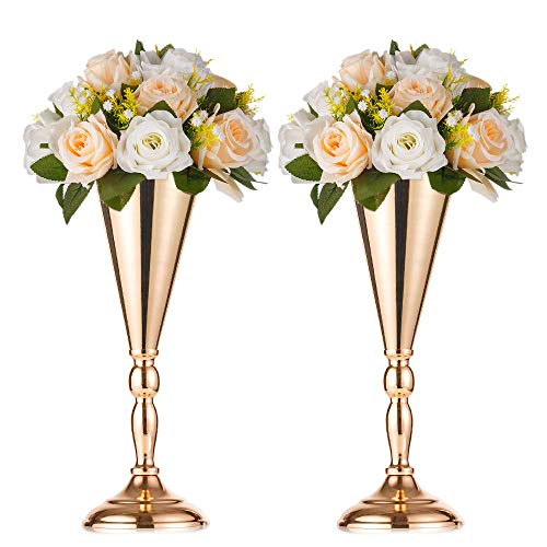 Nuptio 2 Pcs Set Metal Wedding Flower Trumpet Vase Stand Table Decorative Centerpiece Artificial Flower Arrangements for Anniversary Ceremony Party Birthday Event Aisle Home Decoration (Gold)