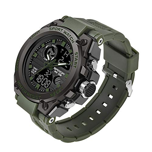 KXAITO Men's Watches Sports Outdoor Waterproof Military Watch Date Multi Function Tactics LED Alarm Stopwatch (26_Green)