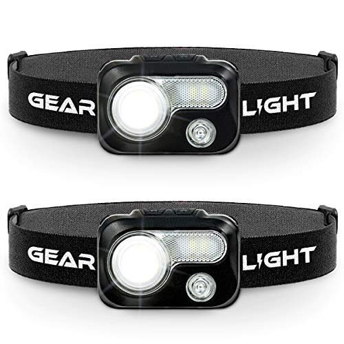 GearLight LED Headlamp Flashlight V500 [2 PACK] - Running, Camping, and Reading Head Lamp/Headlight - Perfect Headlamps with Red Light for Adults and Kids
