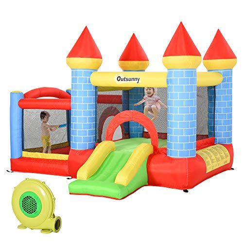 Outsunny Kids Bounce Castle House Inflatable Trampoline Slide Water Pool Basket 4 in 1 with Inflator for Kids Age 3-12 Castle Design 3 x 2.75 x 2.1m