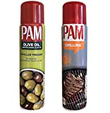 Pam Non-Stick Cooking Spray Set - PAM Extra Virgin Olive Oil and PAM Grilling (Large 7oz Bottles)