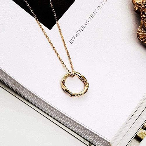 ZGYFJCH Co.,ltd Collar de Plata esterlina, joyería de fantasía, Colgante, círculo Irregular, Temperamento, Collar de Cadena de clavícula Salvaje