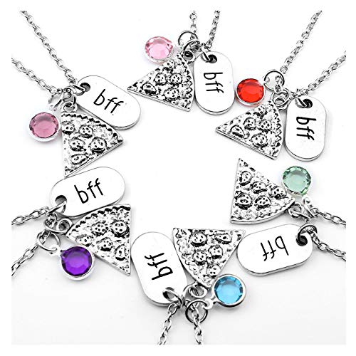 Top Plaza Womens Silver Tone Rhinestone Best Friends Forever BFF Necklace Engraved Pizza Pendant Necklaces 21 Inches - Set of 6