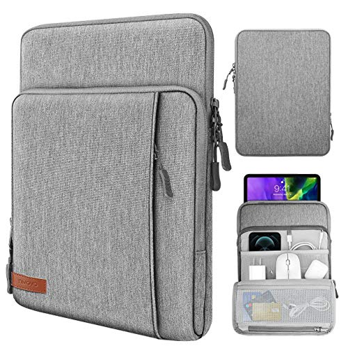 TiMOVO 9-11 Inch Tablet Sleeve Case for iPad 8th/7th Gen (10.2' 2020/2019), iPad Air 4, iPad Pro 11 2020/2018, Galaxy Tab A 10.1, S6 Lite 2020, Fit Apple Smart Keyboard, Multiple Pockets, Gray