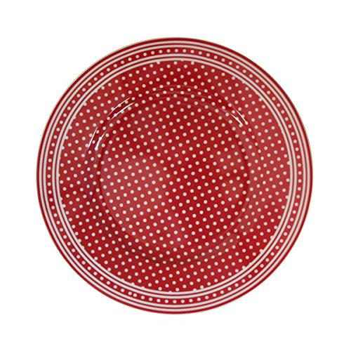 Krasilnikoff - Dessertteller - Dessert Plate - Red -Micro Dots Rot/Weiss- Porzellan - Ø 20 cm - Spülmaschinen -und Mikrowellenfest
