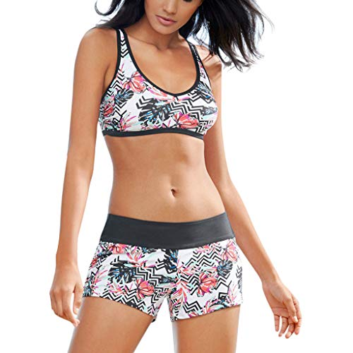 MAYOGO Frauen Zweiteiler Sportlich Bademode Badeanzüge Shorts Bikini Sets mit Blume Drucken,Damen Sommer Strandkleid Badebekleidung Tankinis Swimsuit Serie5-6