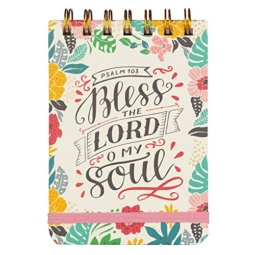 Hardcover Wire Mini Notepad | Bless the Lord O My Soul - Psalm 103 Bible Verse | Inspirational Pocket Memo Pad for Shopping, To Do List, Reminders