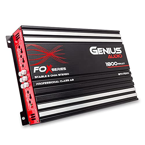 Genius Audio GFX-75X4 Full Range Powered Car Amplifier Multichannel 1800 Watts Max Class AB 2-Ohm Stable with Power Protection System to Boost Speaker and Woofer Performance