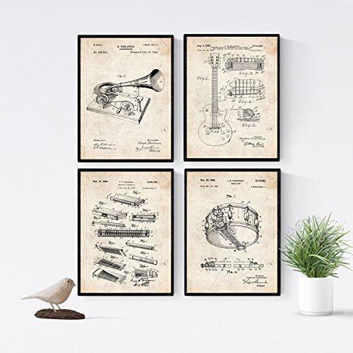 Nacnic Vintage - Pack de 4 láminas con Patentes de Música Blues. Set de Posters con inventos y Patentes Antiguas. Elije el Color Que más te guste. Impreso en Papel de 250 Gramos