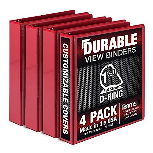 Samsill Durable 1.5 Inch Binder D Ring/Red Binder/Customizable Clear View Binder/Bulk Binder 4 Pack/Red 3 Ring Binder / 1.5 Inch Binder
