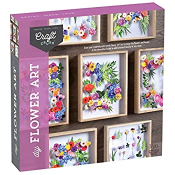 Craft Crush – DIY Flower Art Craft Kit – Arrange Pre-Cut Paper Flowers and Foliage to Create a One-of-a-Kind Framed Arrangement