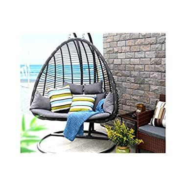 Baner Garden X29 Oval Egg Hanging Patio Lounge Chair Chaise Porch Swing Hammock Stand Double Seat Wicker with Cushion, Full, Black