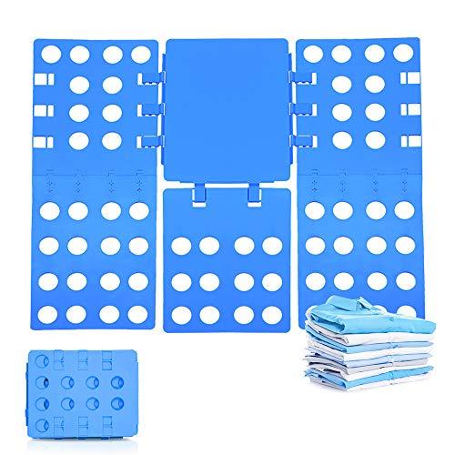 TOFAR Clothes Folding Board, T Shirt Folder Adjustable Folding Board, Adult Size Multifunctional Organizer Plastic Dress Pants Towels T-Shirt Folders for Easy Storage and Travel, Blue
