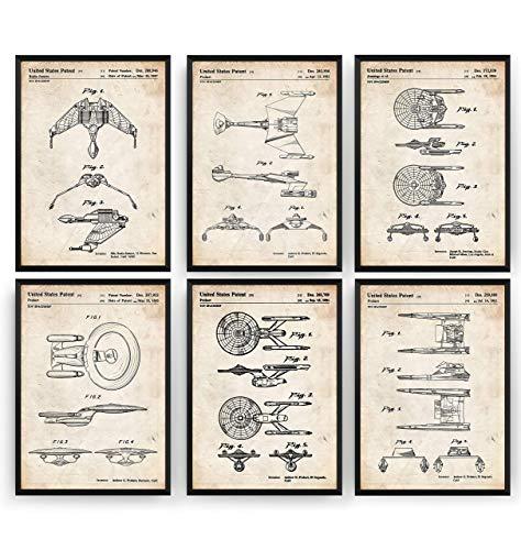 Star Trek Spaceship Set Of 6 Patent Posters - Trekkie Trekker Giclee Print Art Kunst Wall Dekor Decor Entwurf Wandkunst Blueprint Geschenk Gift - Frame Not Included