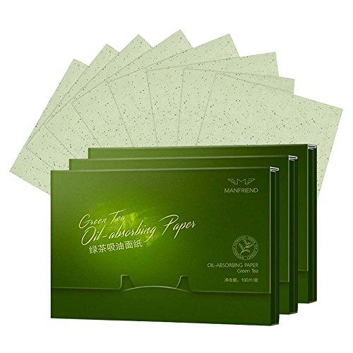 300 Hojas de te verde facial de aceite de control de absorcion de Cine de tejidos papel secante