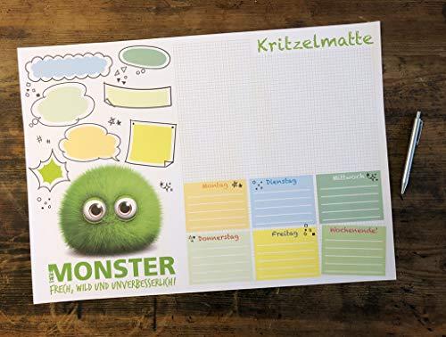Schreibtischunterlage DIN A2 für Kinder XXL MONSTER KRITZELMATTE 'EyeMonster - Frech, Wild und Unverbesserlich' Schreibunterlage (59,4 x 42,0 cm) mit 25 Blatt Papier zum Abreißen (1 Stück)