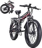 Bicicleta electrica 26Inch4.0 Bicicleta eléctrica plegable del neumático de grasa, batería de litio extraíble de 48V 12.8Ah, motor de 1000W y engranajes de 21 velocidades en marcha de la playa, bicicl