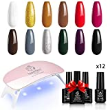 Beetles Gel Nail Gift Set Gel Nail Polish Kit- 12 Colors White Red - Best Reviews Guide
