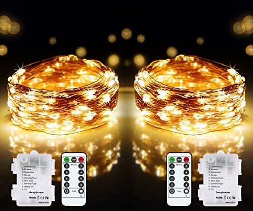 DeepDream 2 x 12 m 120 LED Guirlande Lumineuse à Pile,8 modes fil cuivre étanche IP65 Guirlande Lumineuse avec télécommande minuterie pour intérieur extérieur Noël Mariage Maison Jardin (blanc chaud)