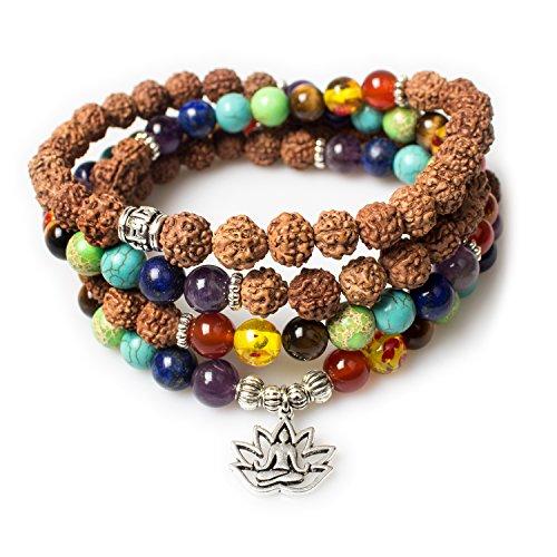 Jewelry,8MM Rudraksha-Buddha Healing 108 Buddhist Prayer Mala Beads Lotus 7 Chakra Bracelet Necklace (Rudraksha-Buddha-Lotus)