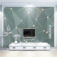 Iusasdz カスタムパーソナリティファッション壁紙壁画ライト高級テレビ背景壁ゴールデンライン抽象的な幾何学120X100Cm