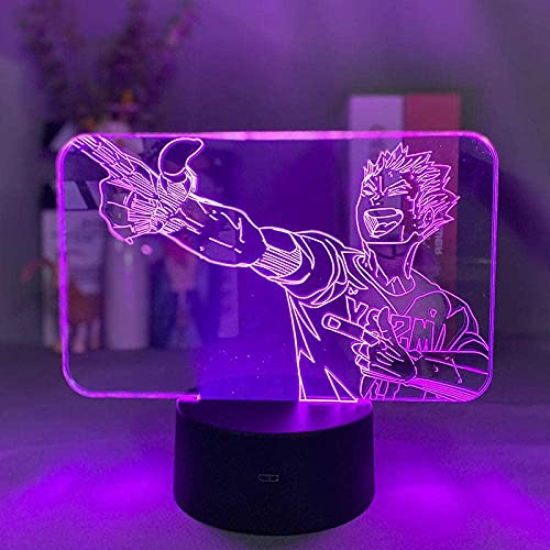 Lámpara de ilusión 3D Luz de noche Led Anime Hakyuu Personaje Lámpara de mesita de noche Niños Regalo de cumpleaños para niños Dormitorio Decoración de oficina