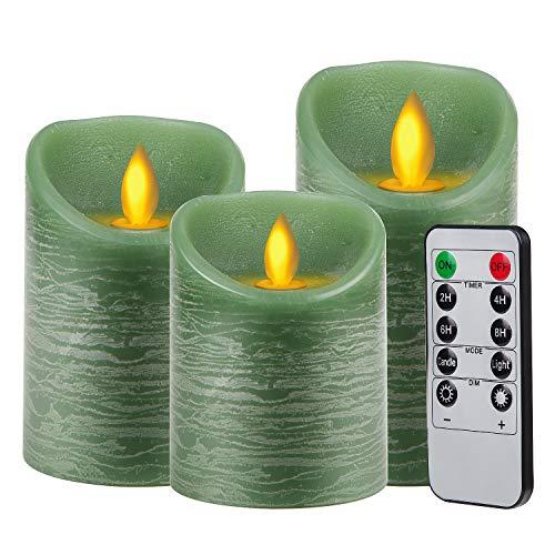 CPROSP 3er LED Kerzen Flammenlose Kerzen mit Fernbedienung mit 10 Tasten (Timer 2/4/6/8 H, 2 Mode, Dimmbar), 7,5x10/12,5/15cm, Dekoration für Weihnachten, Ostern, Hochzeit, Party, Grün