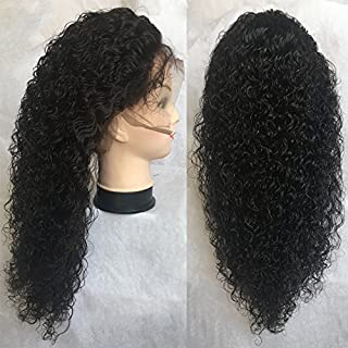 Wilme 100% Brazilian Virgin Human Hair 150% Density Lace Wigs for Black Women Spanish Curl Glueless Lace Front Wigs With Baby Hair Bleached Knots (20 inch, natural colour)