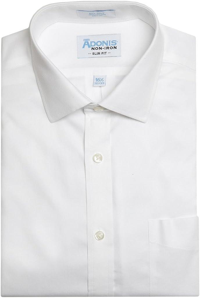 Adonis Shirts Inc. Mens 100% Cotton Non Iron White Pinpoint Button Cuff Slim Fit Dress Shirt